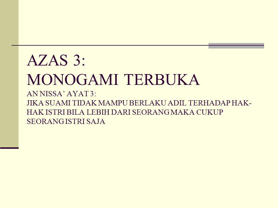 AZAS 3: MONOGAMI TERBUKA AN NISSA' AYAT 3: JIKA SUAMI TIDAK MAMPU BERLAKU ADIL TERHADAP HAK-HAK ISTRI BILA LEBIH DARI SEORANG MAKA CUKUP SEORANG ISTRI SAJA