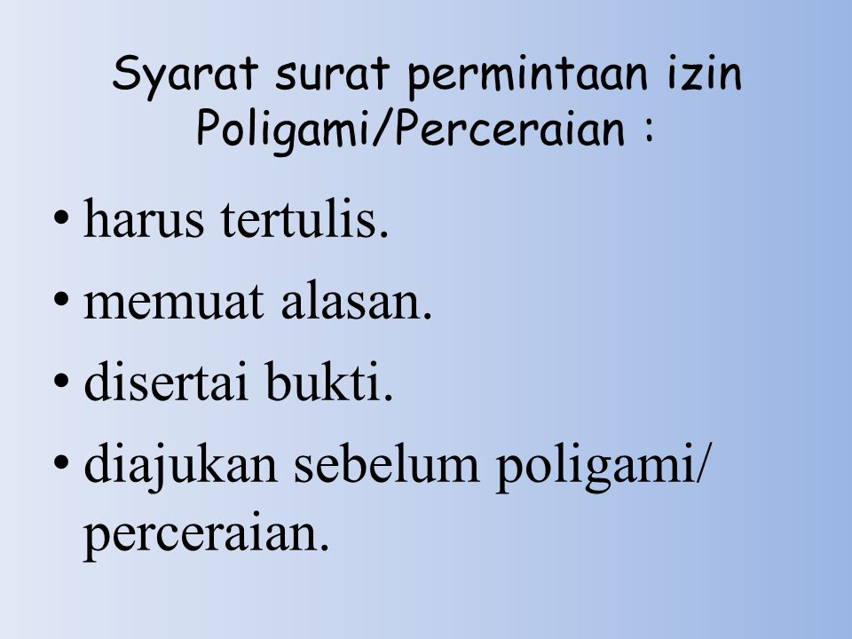 Syarat surat permintaan izin Poligami/Perceraian :