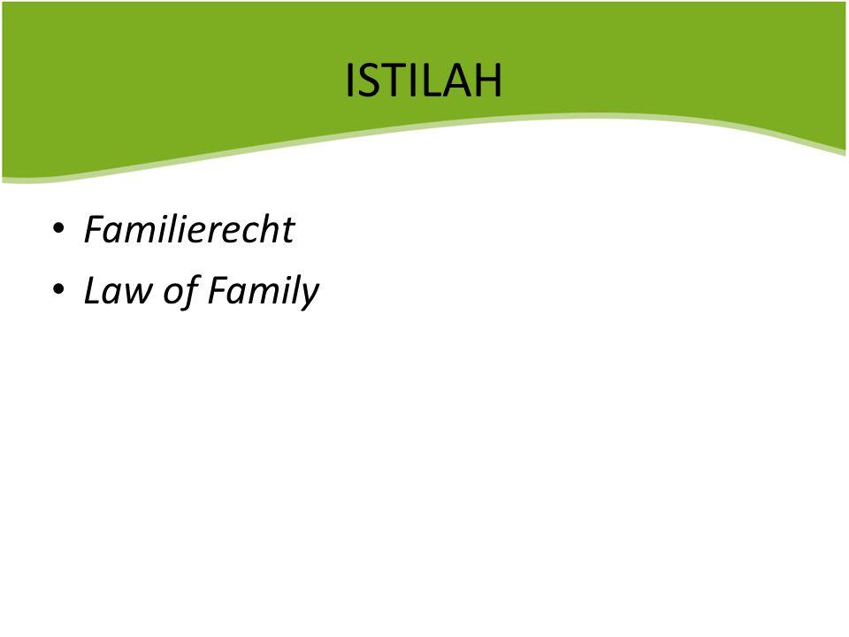 ISTILAH Familierecht Law of Family