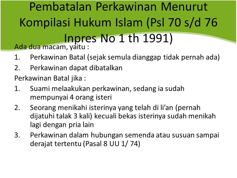 Pembatalan Perkawinan Menurut Kompilasi Hukum Islam (Psl 70 s/d 76 Inpres No 1 th 1991)