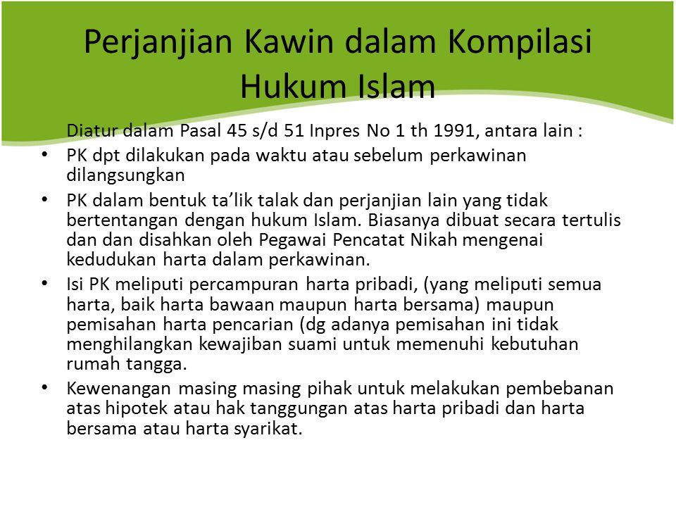 Perjanjian Kawin dalam Kompilasi Hukum Islam