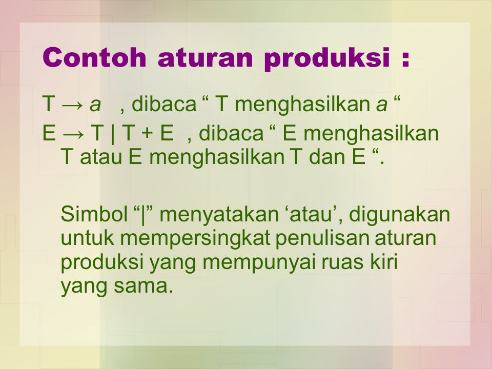 Contoh aturan produksi :