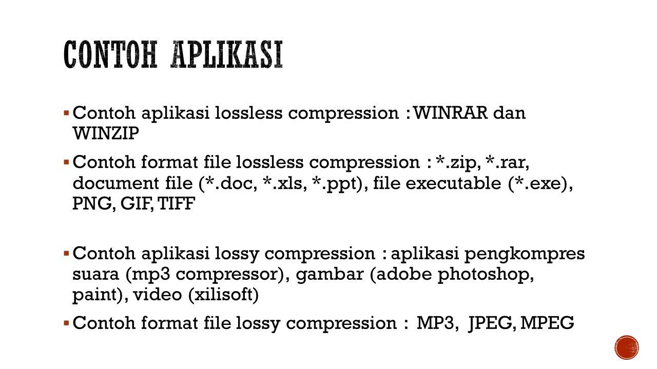 Contoh Aplikasi Contoh aplikasi lossless compression : WINRAR dan WINZIP.