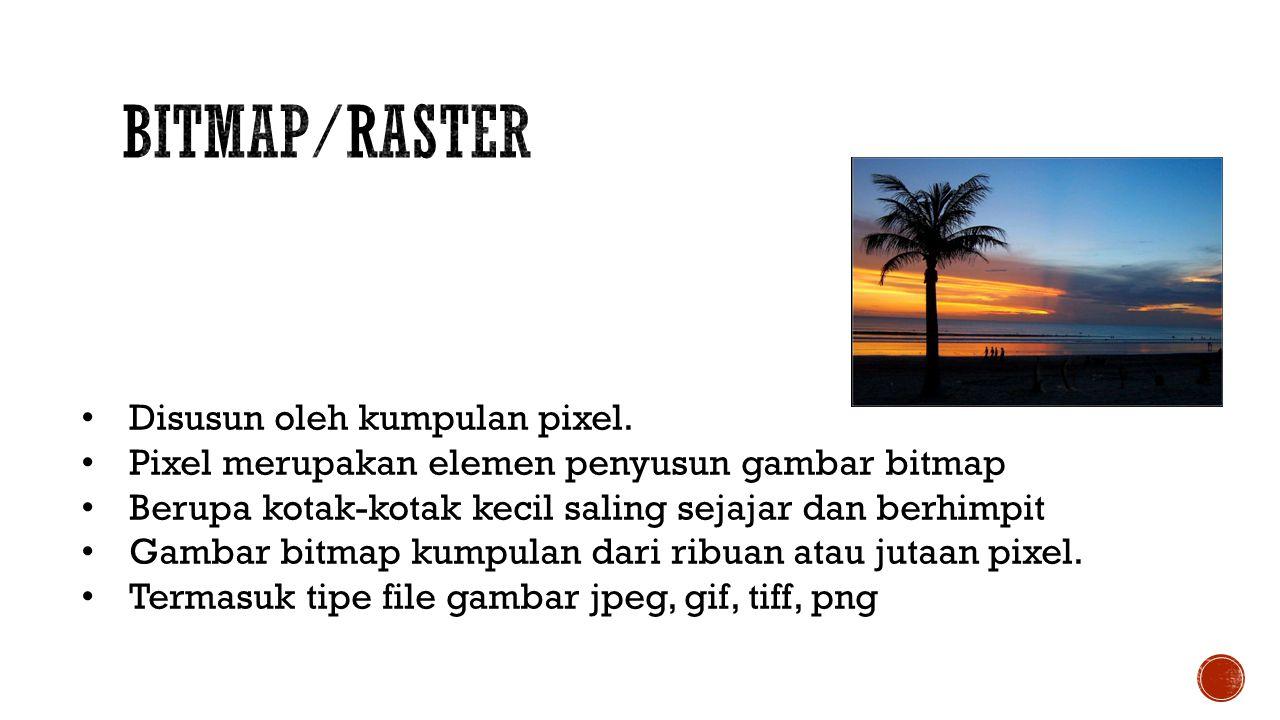 Bitmap/Raster Disusun oleh kumpulan pixel.