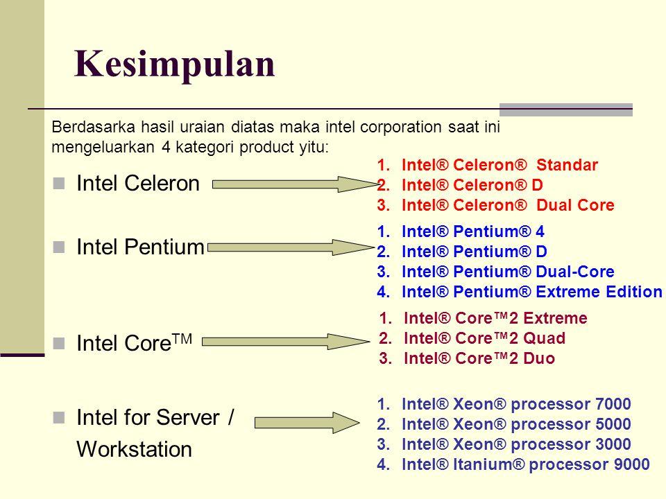 Kesimpulan Intel Celeron Intel Pentium Intel CoreTM Intel for Server /