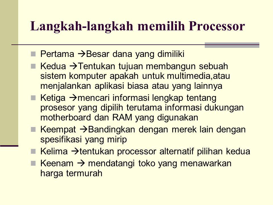 Langkah-langkah memilih Processor