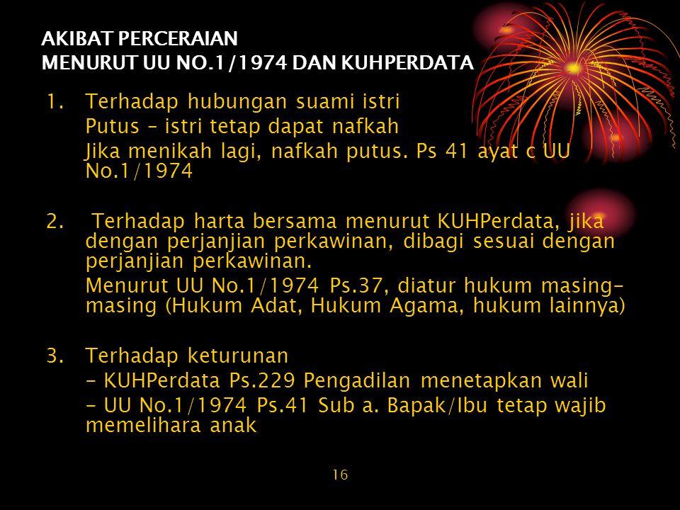 AKIBAT PERCERAIAN MENURUT UU NO.1/1974 DAN KUHPERDATA