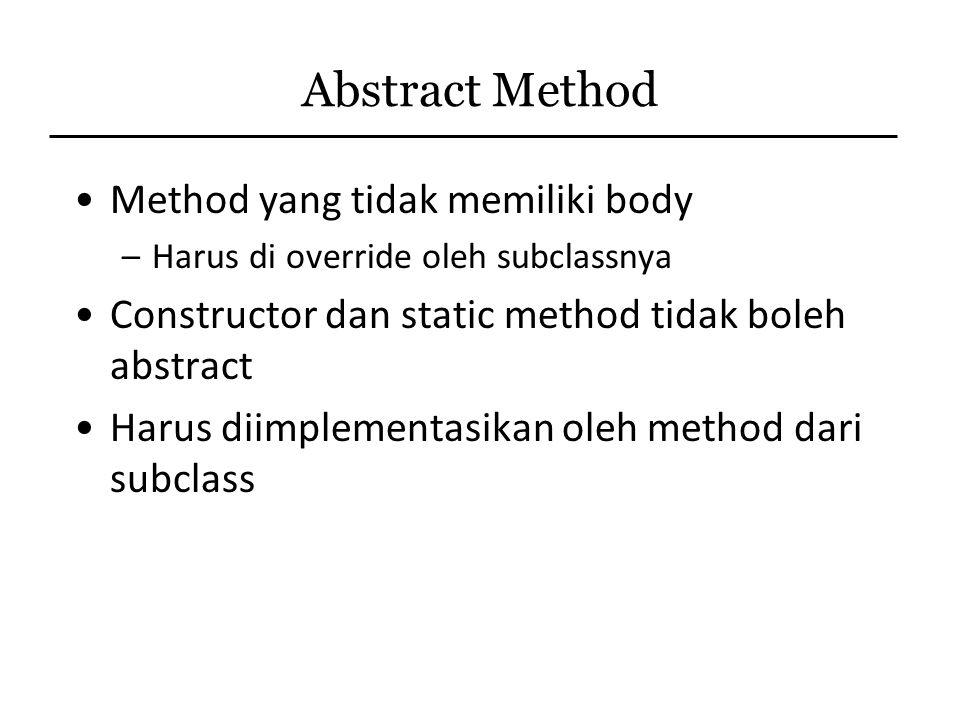 Abstract Method Method yang tidak memiliki body