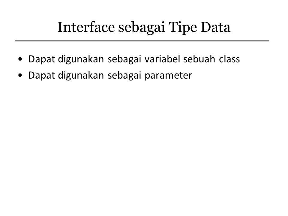 Interface sebagai Tipe Data
