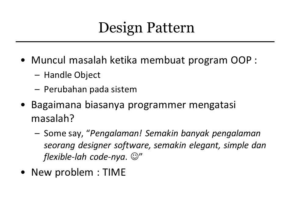 Design Pattern Muncul masalah ketika membuat program OOP :