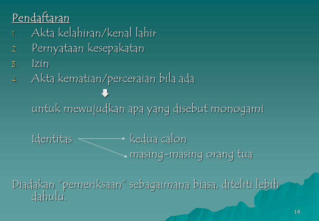 Pendaftaran Akta kelahiran/kenal lahir. Pernyataan kesepakatan. Izin. Akta kematian/perceraian bila ada.