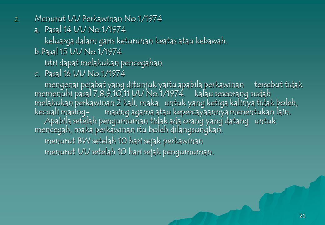 Menurut UU Perkawinan No.1/1974