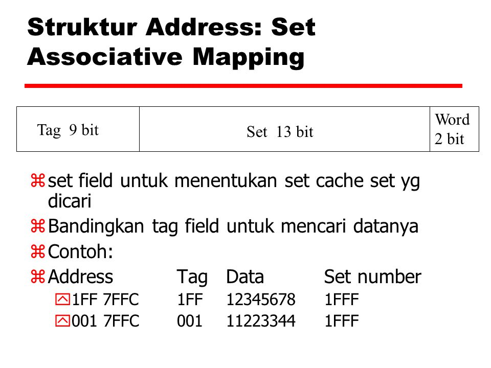 Struktur Address: Set Associative Mapping
