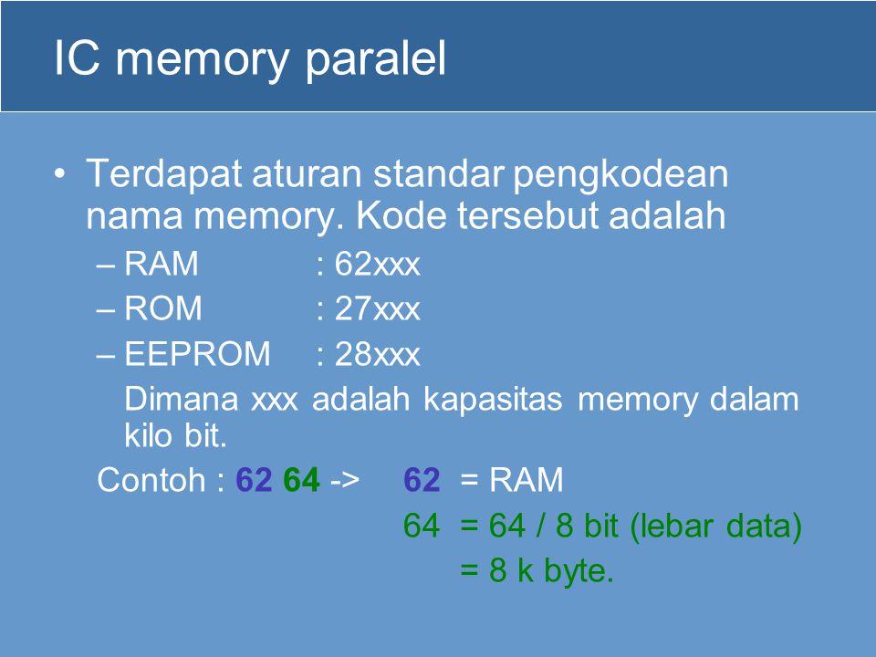 IC memory paralel Terdapat aturan standar pengkodean nama memory. Kode tersebut adalah. RAM : 62xxx.