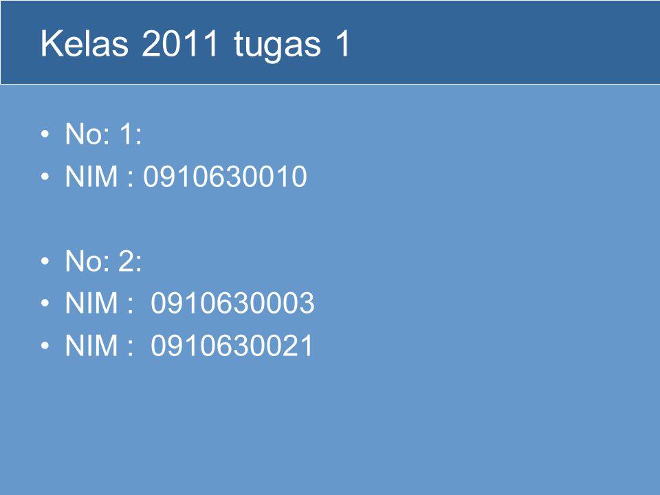 Kelas 2011 tugas 1 No: 1: NIM : 0910630010 No: 2: NIM : 0910630003