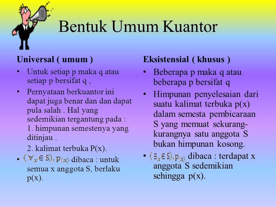 Bentuk Umum Kuantor Universal ( umum ) Eksistensial ( khusus )