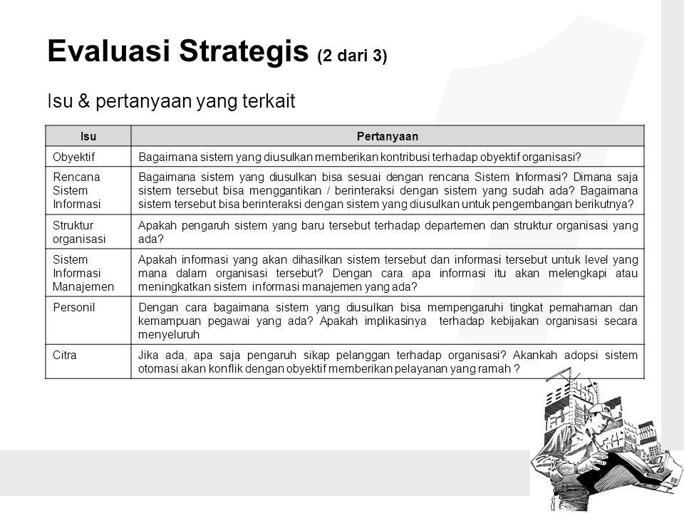 1 Evaluasi Strategis (2 dari 3) Isu & pertanyaan yang terkait Isu