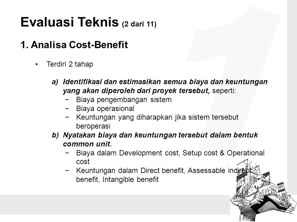 1 Evaluasi Teknis (2 dari 11) 1. Analisa Cost-Benefit Terdiri 2 tahap