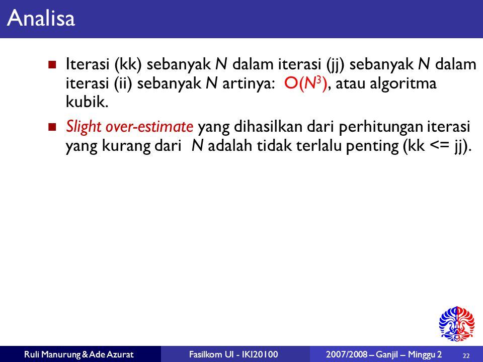 Analisa Iterasi (kk) sebanyak N dalam iterasi (jj) sebanyak N dalam iterasi (ii) sebanyak N artinya: O(N3), atau algoritma kubik.