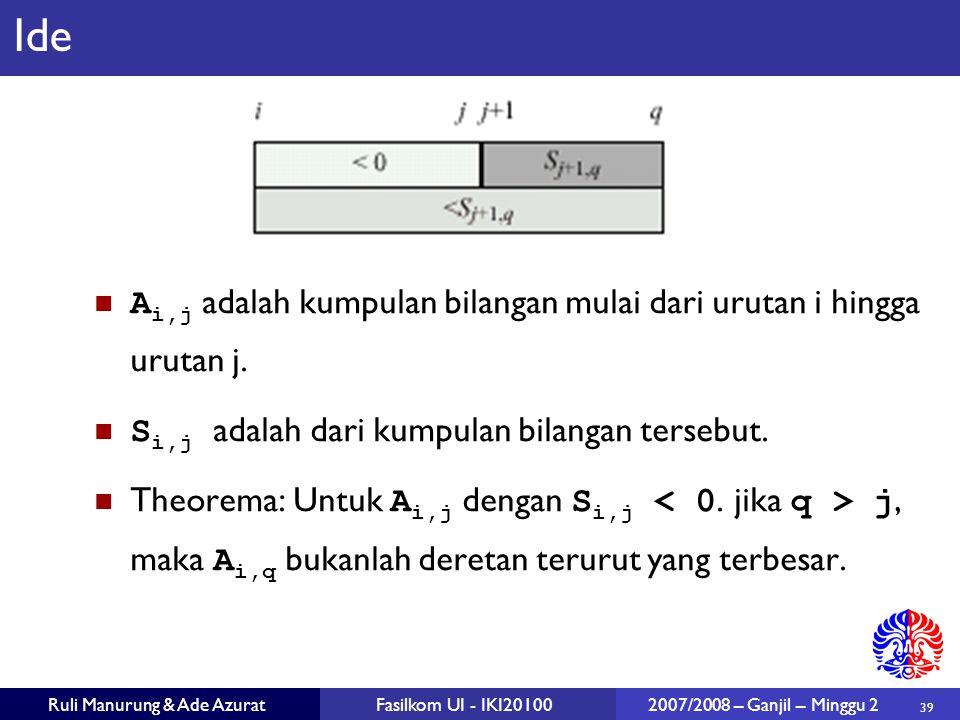 Ide Ai,j adalah kumpulan bilangan mulai dari urutan i hingga urutan j.