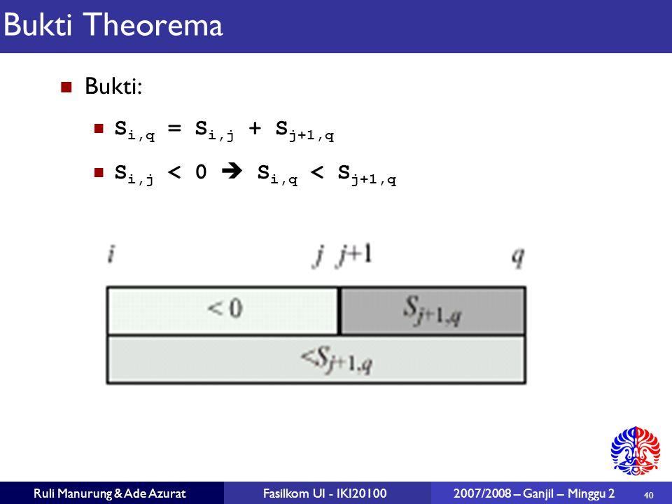 Bukti Theorema Bukti: Si,q = Si,j + Sj+1,q