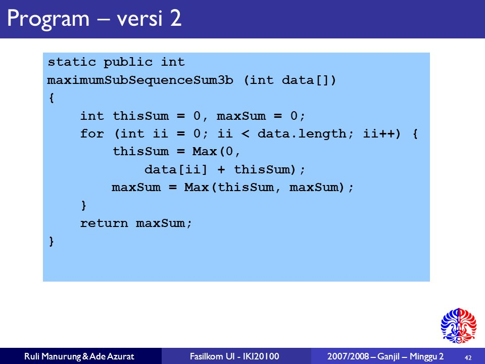 Program – versi 2 static public int