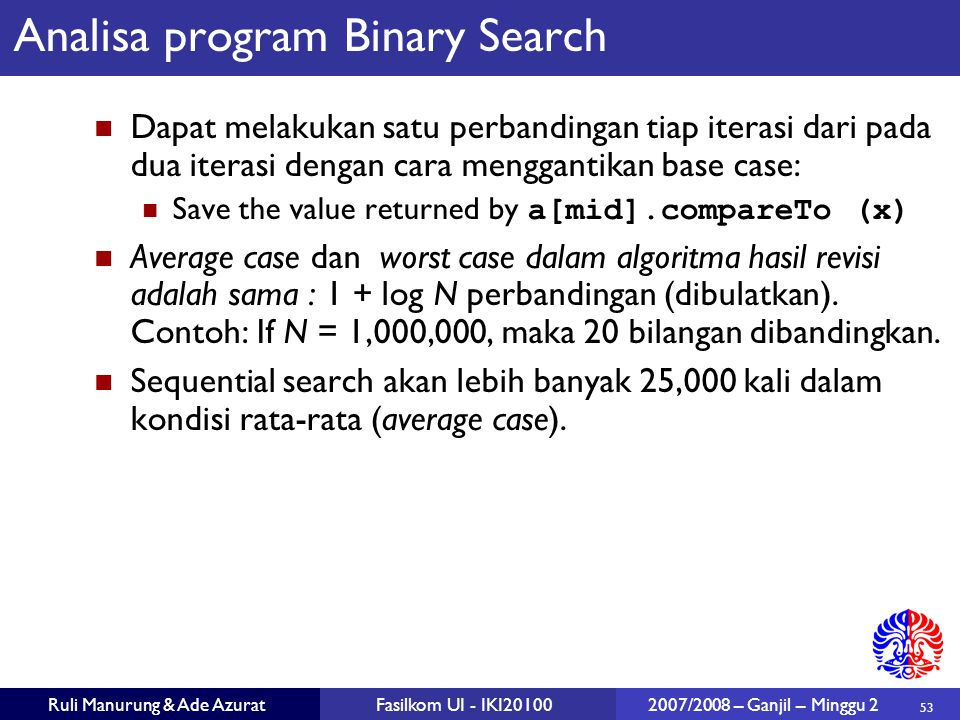 Analisa program Binary Search