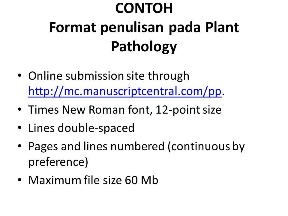 CONTOH Format penulisan pada Plant Pathology
