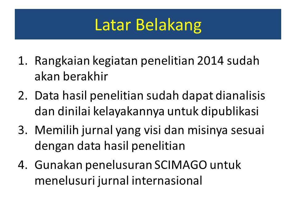 Latar Belakang Rangkaian kegiatan penelitian 2014 sudah akan berakhir
