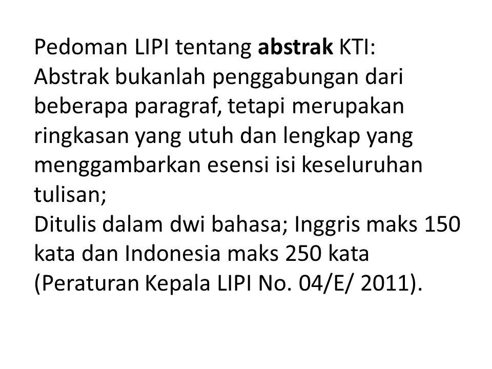 Pedoman LIPI tentang abstrak KTI: