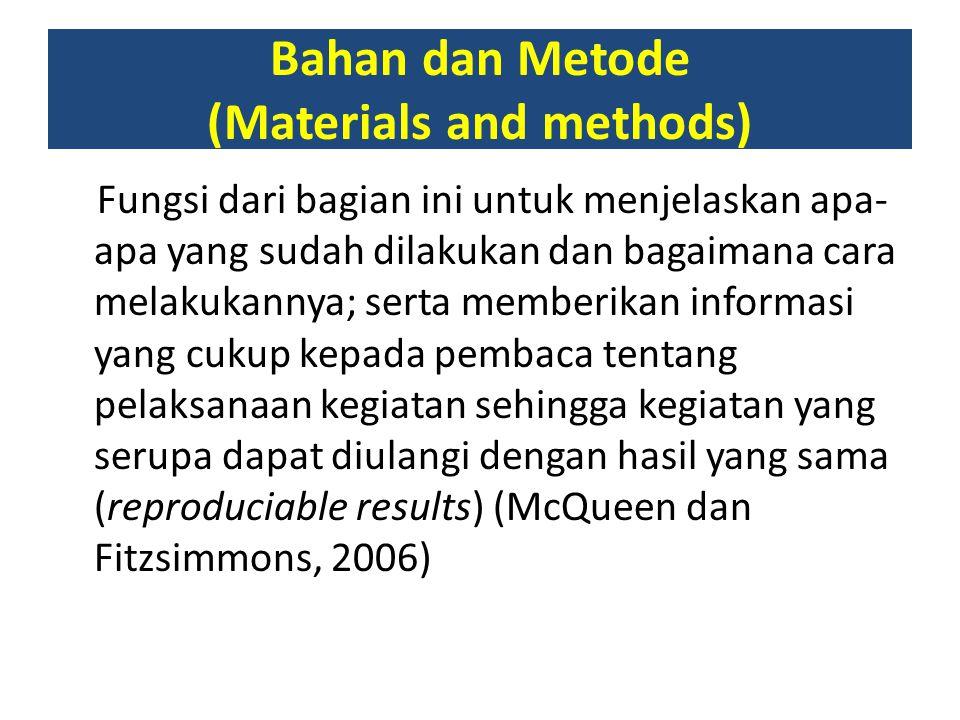 Bahan dan Metode (Materials and methods)