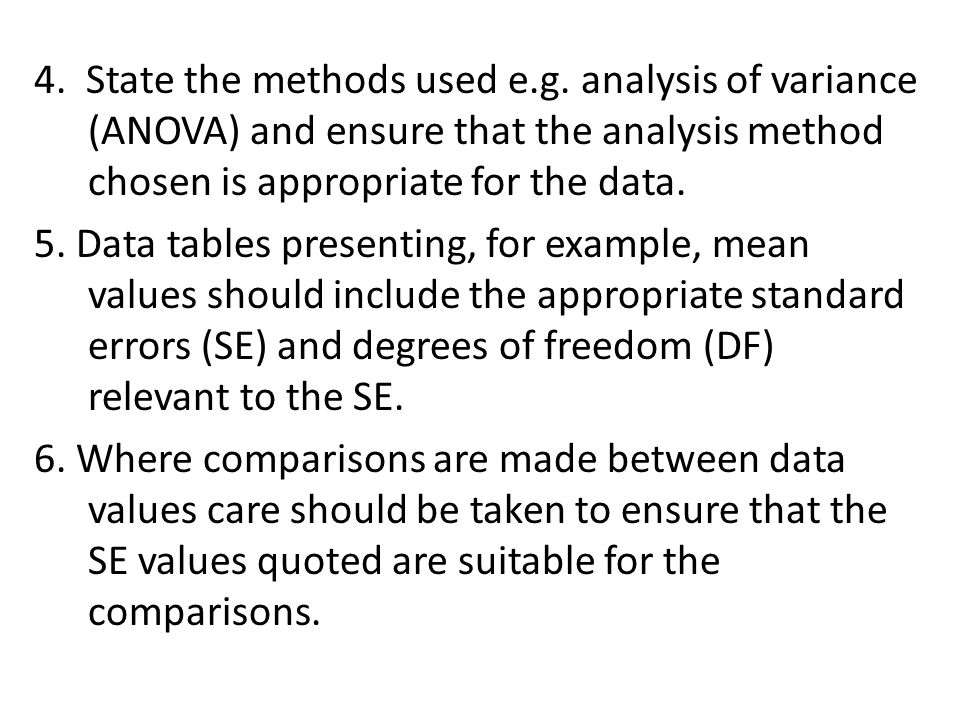 4. State the methods used e. g