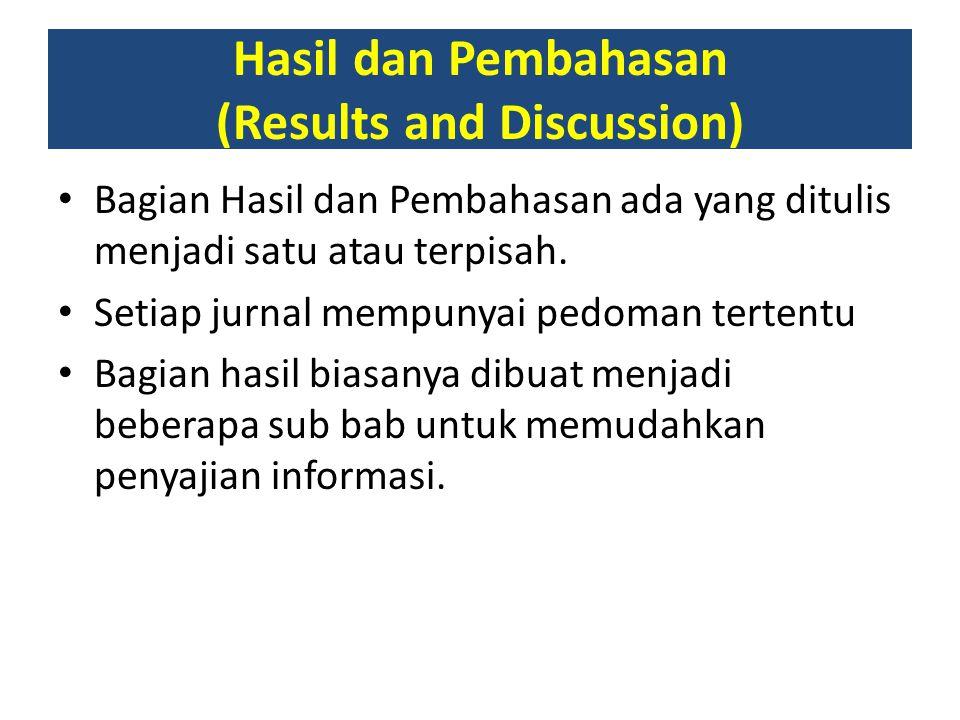 Hasil dan Pembahasan (Results and Discussion)
