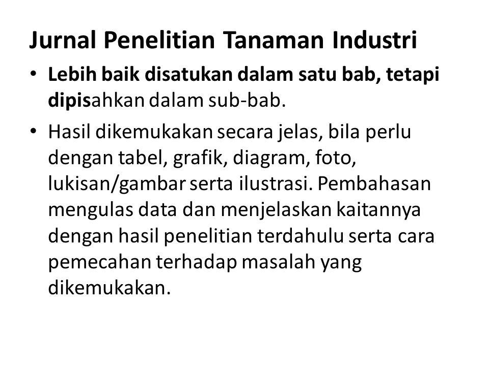 Jurnal Penelitian Tanaman Industri