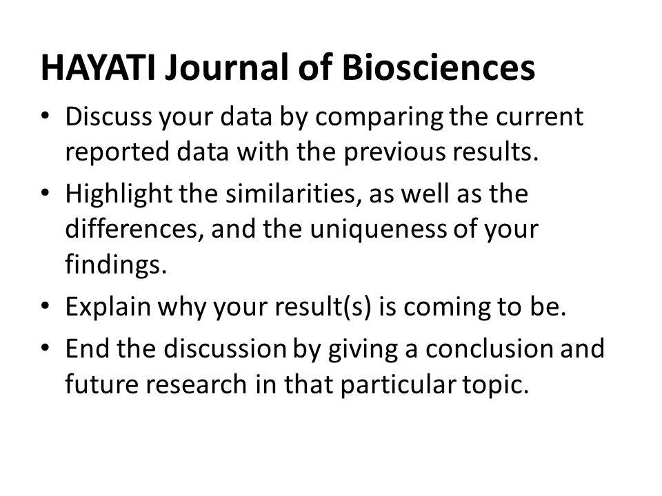HAYATI Journal of Biosciences