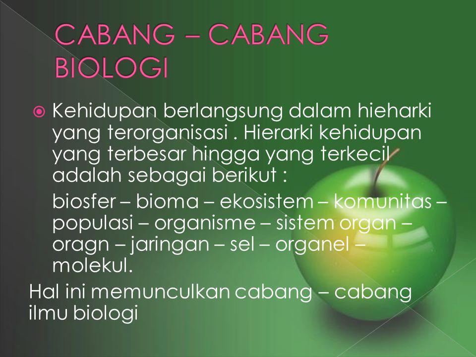 CABANG – CABANG BIOLOGI
