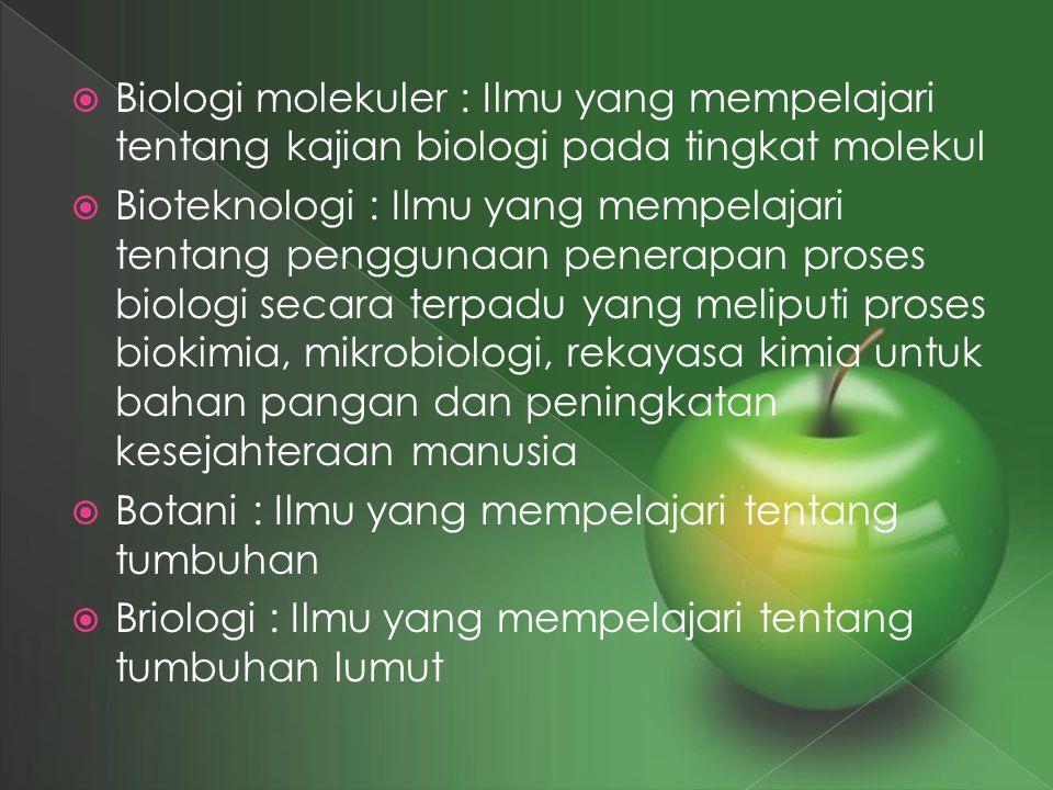 Biologi molekuler : Ilmu yang mempelajari tentang kajian biologi pada tingkat molekul