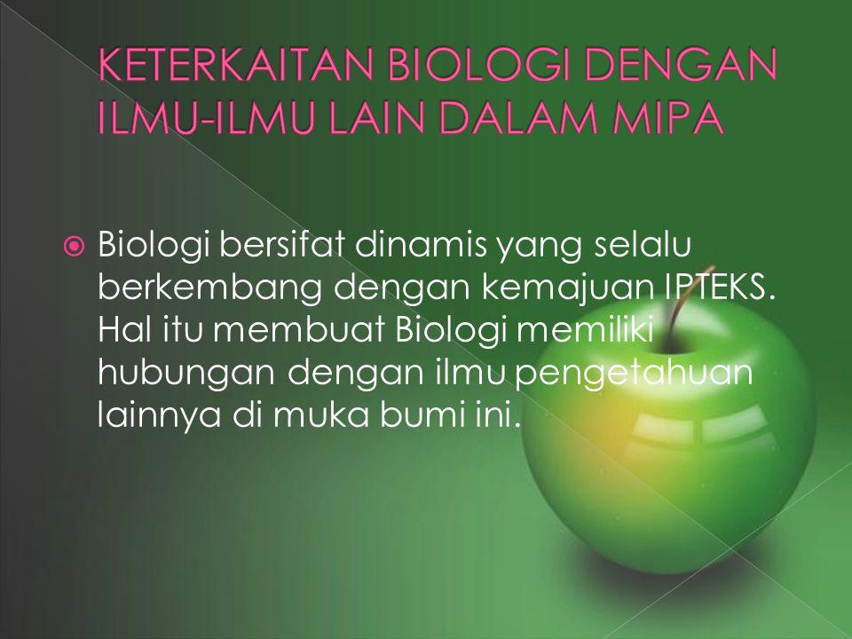 KETERKAITAN BIOLOGI DENGAN ILMU-ILMU LAIN DALAM MIPA