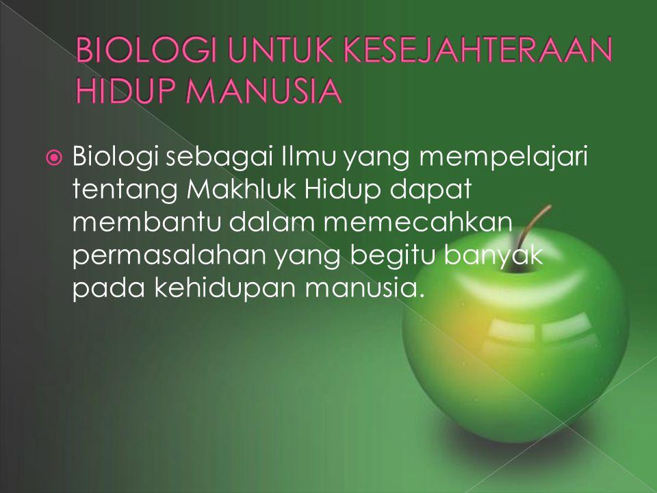 BIOLOGI UNTUK KESEJAHTERAAN HIDUP MANUSIA