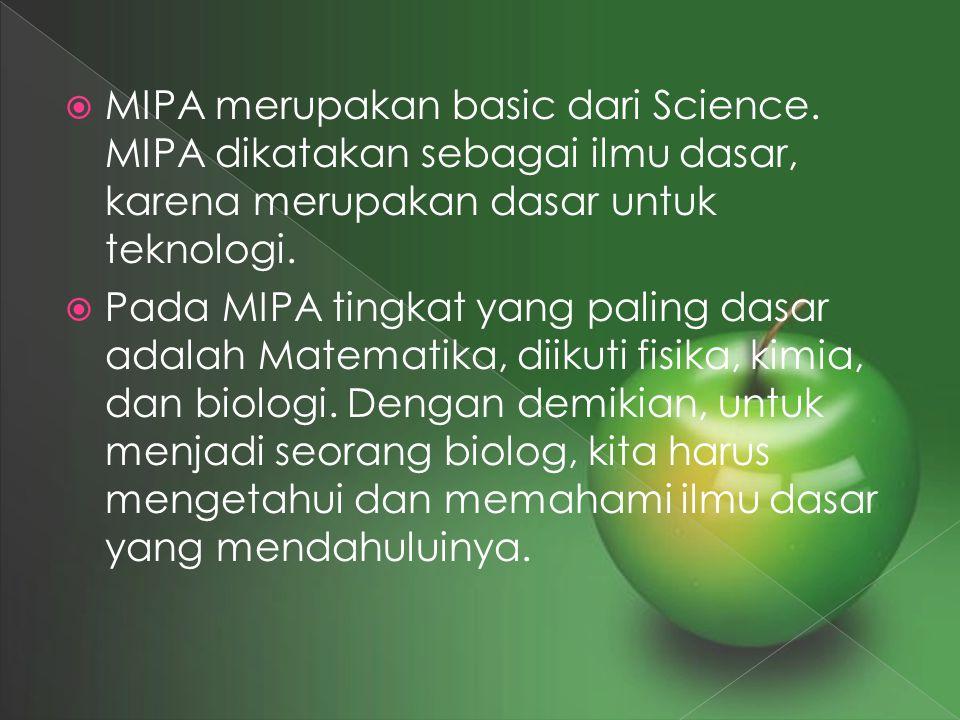 MIPA merupakan basic dari Science