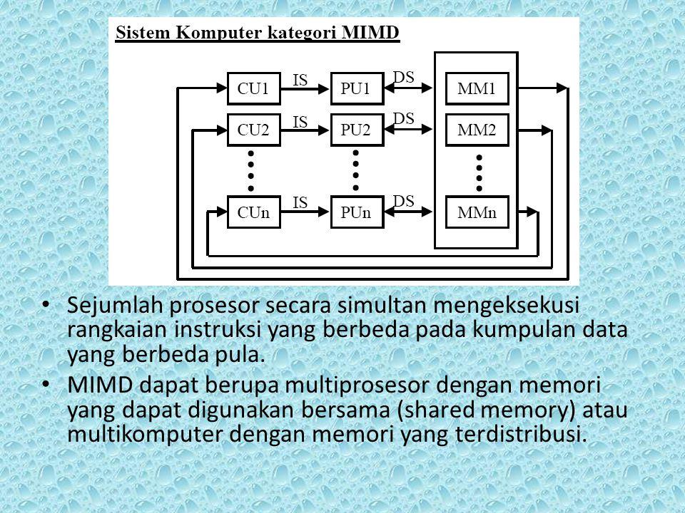 Sejumlah prosesor secara simultan mengeksekusi rangkaian instruksi yang berbeda pada kumpulan data yang berbeda pula.