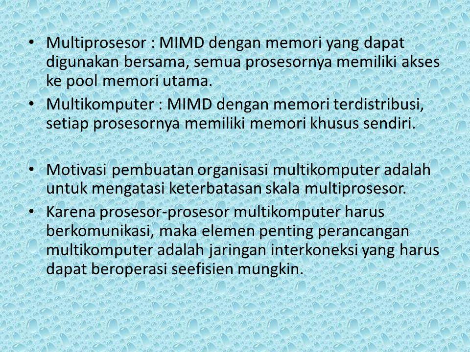 Multiprosesor : MIMD dengan memori yang dapat digunakan bersama, semua prosesornya memiliki akses ke pool memori utama.
