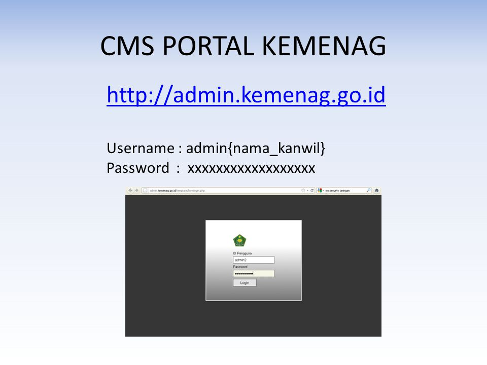 CMS PORTAL KEMENAG http://admin.kemenag.go.id