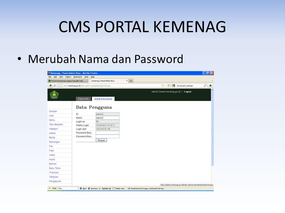 CMS PORTAL KEMENAG Merubah Nama dan Password