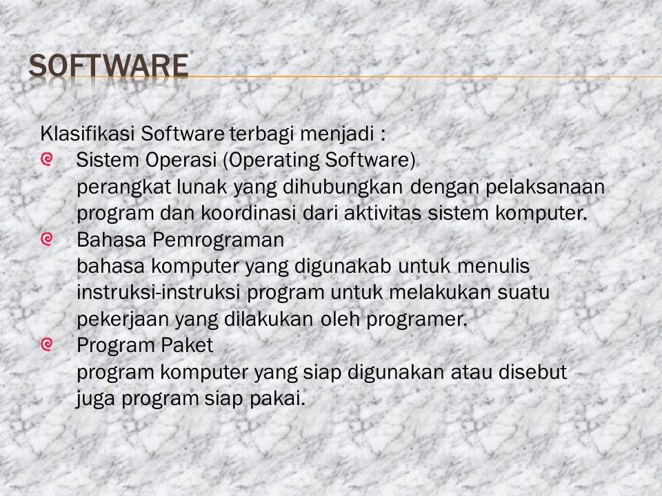 software Klasifikasi Software terbagi menjadi :