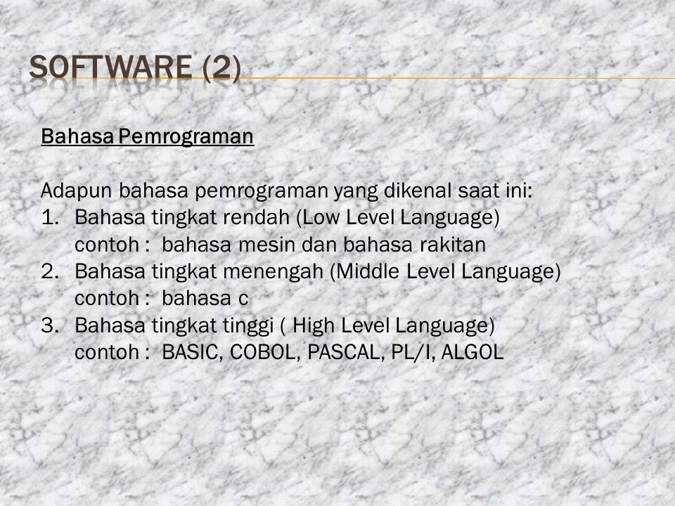 software (2) Bahasa Pemrograman