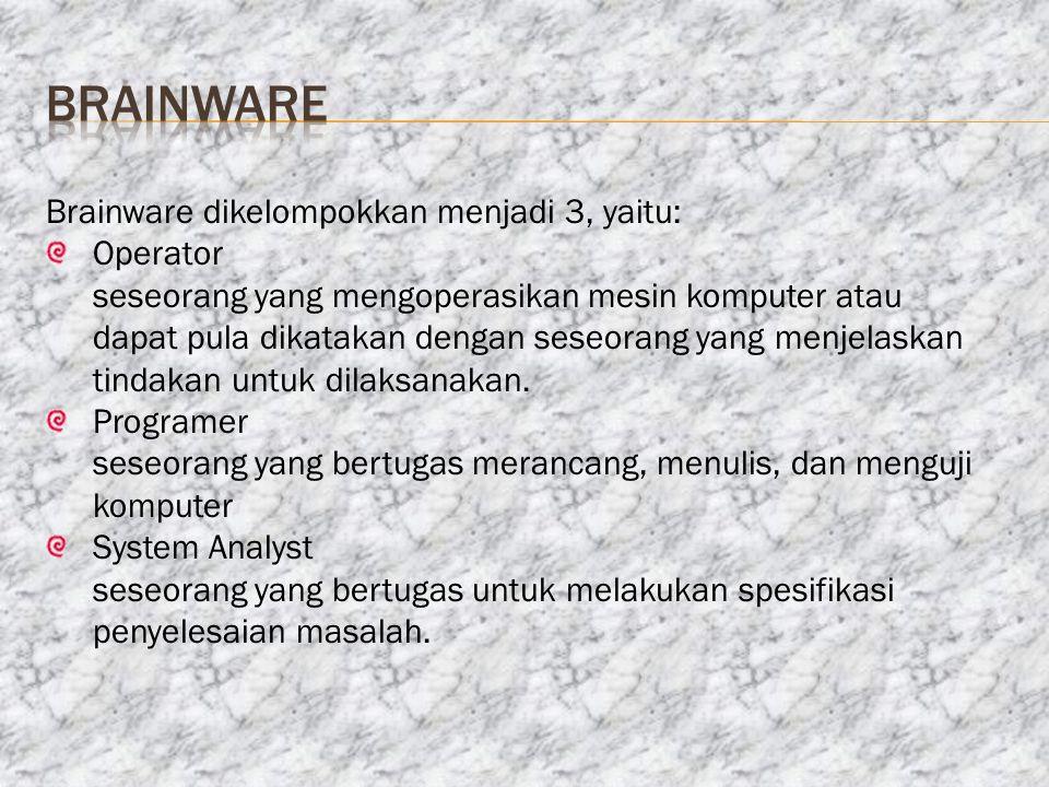 brainware Brainware dikelompokkan menjadi 3, yaitu: Operator