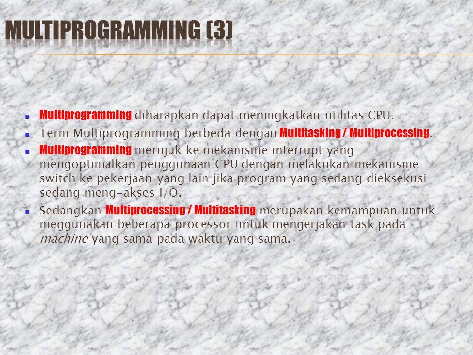 Multiprogramming (3) Multiprogramming diharapkan dapat meningkatkan utilitas CPU.