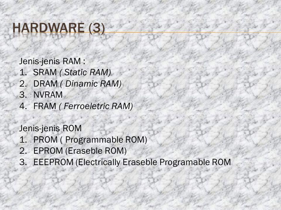 hardware (3) Jenis-jenis RAM : SRAM ( Static RAM) DRAM ( Dinamic RAM)