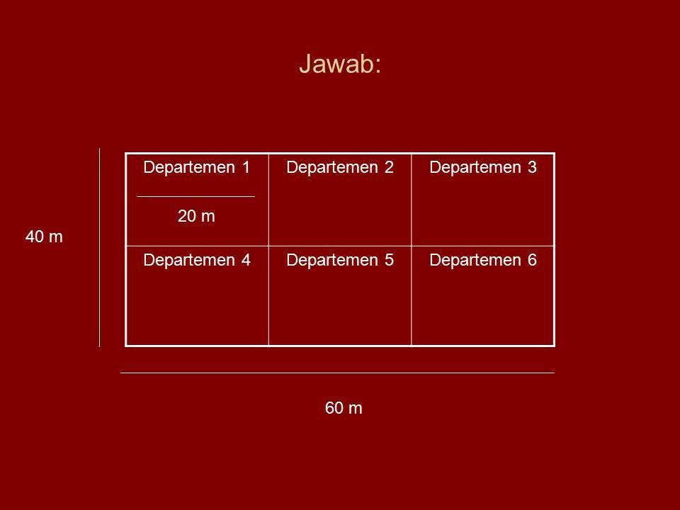 Jawab: Departemen 1 20 m Departemen 2 Departemen 3 Departemen 4
